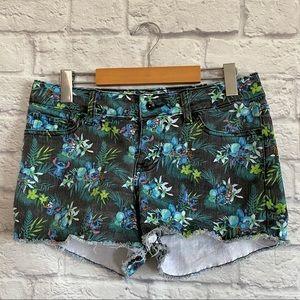 DISNEY LILO & STITCH Hawaiian Cut off Jean Shorts